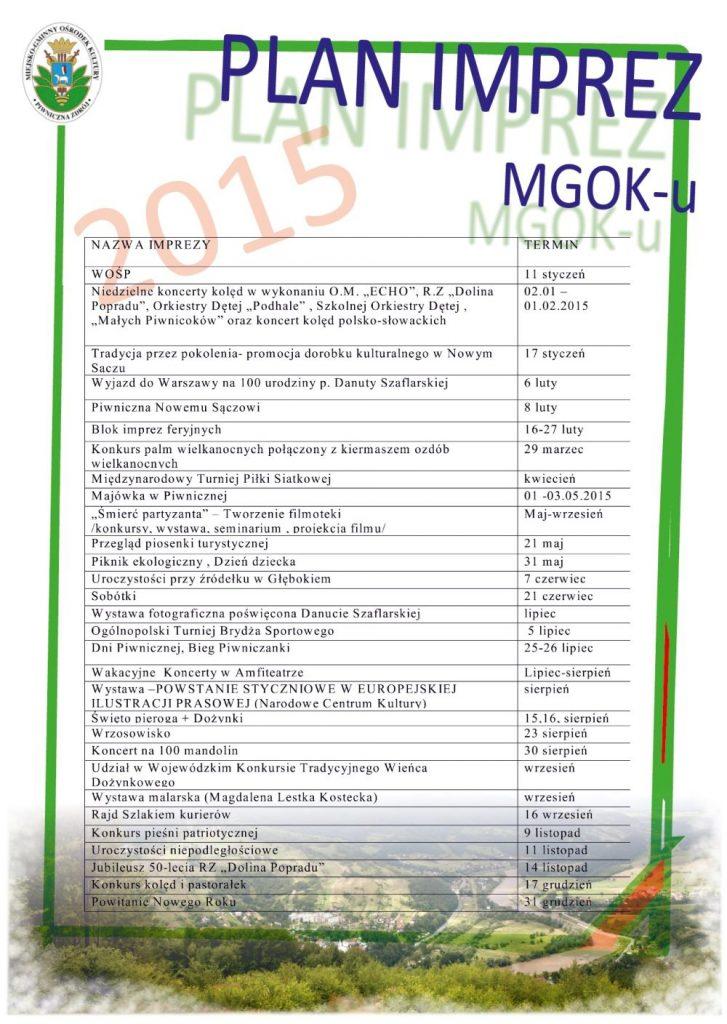 plan imprez w Piwnicznej 2015