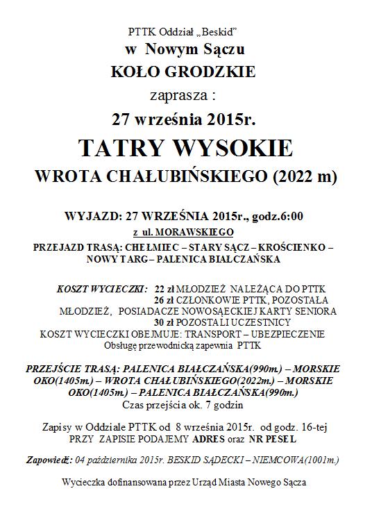 Tatry Wysokie – Wrota Chałbińskiego 27 września