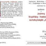 Spotkanie autorskie z Joanna Krupińską – Trzebiatowską
