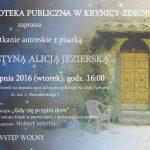 [Krynica – Zdrój]: Spotkanie autorskie z Krystyną Alicją Jezierską