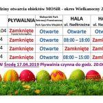 Godziny otwarcia obiektów MOSiR – Wielkanoc 2019