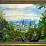 Sad jabłoni a w oddali wieże Sanktuarium św. Rity, autorka: Teresa Rogoń