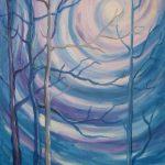 Bezlistne drzewa na tle zachodzącego słońca, autorka: Teresa Rogoń
