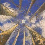 Widok na księżyc w koronie drzew, autorka: Teresa Rogoń