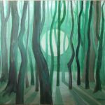 Zielony las na tle wschodzącego słońca, autorka: Teresa Rogoń