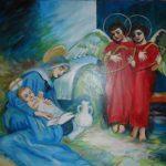 Śpiąca Madonna z Dzieciątkiem w asyście aniołów, autorka: Teresa Rogoń
