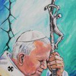 Prawy profil Jana Pawła II opartego na krzyżu, autorka: Teresa Rogoń