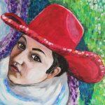 Portret kobiety w czerwonym kapeluszu, autorka: Teresa Rogoń: