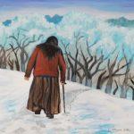 Kobieta, która odchodzi w zimowej scenerii, autorka: Teresa Rogoń