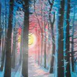 Las zimą o zachodzie słońca, autorka: Teresa Rogoń
