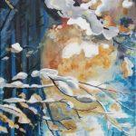 Gałązki drzew okraszone śniegiem, autorka: Teresa Rogoń