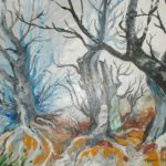 Trzy bezlistne drzewa jesienią, autorka: Teresa Rogoń