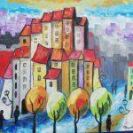 Zwarta, kolorowa zabudowa wysokich kamienic, autorka: Teresa Rogoń