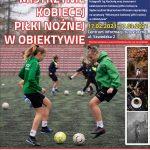 Plakat opatrzony zdjęciem kobiet grających w piłkę