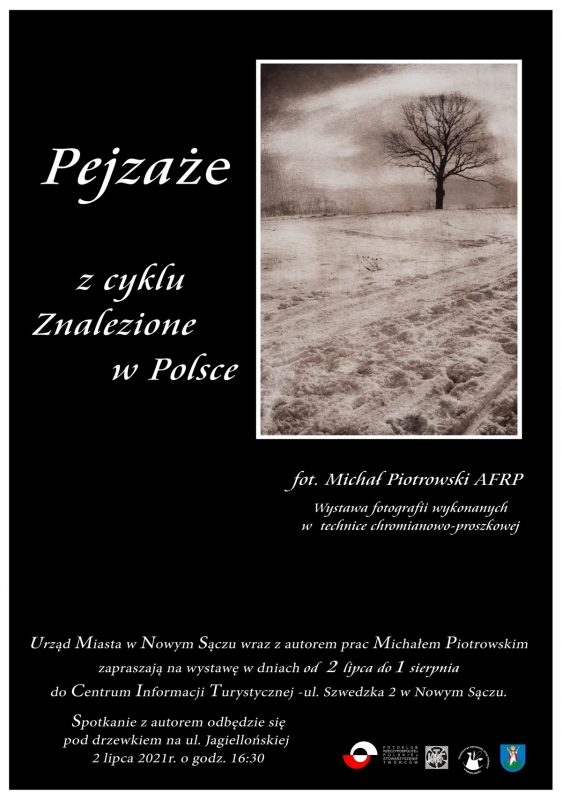 Plakat do wystawy Pejzaże autorstwa Michała Piotrowskiego