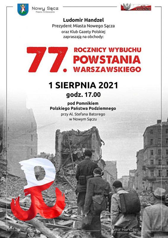 Plakat 77. Rocznica Wybuchu Powstania Warszawskiego